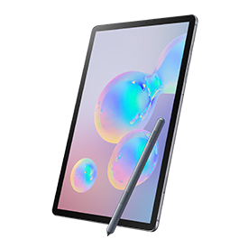 Samsung Galaxy Tab S6 angled front view with S pen