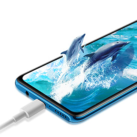Huawei P30 Lite in blue being charged