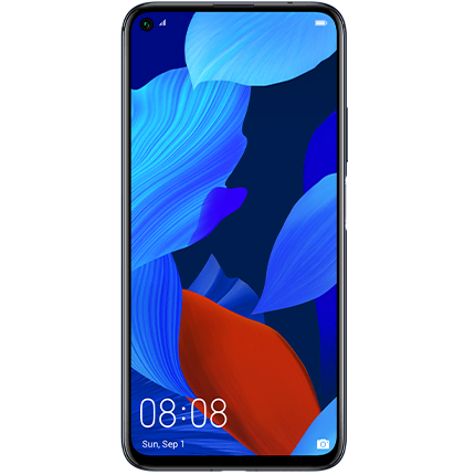 Huawei nova 5T in black, front of device