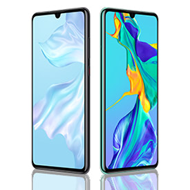 Two Huawei P30 devices in black and aurora, side by side