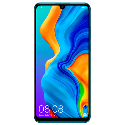 Huawei P30 Lite in blue, front of device