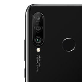 Huawei P30 Lite in black, back of device