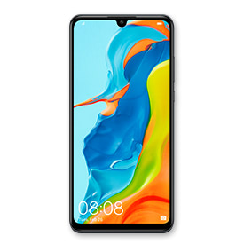 Huawei P30 Lite in black, front of device