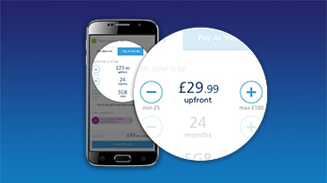 A mobile phone screen showing upfront cost on the O2 custom plans calculator
