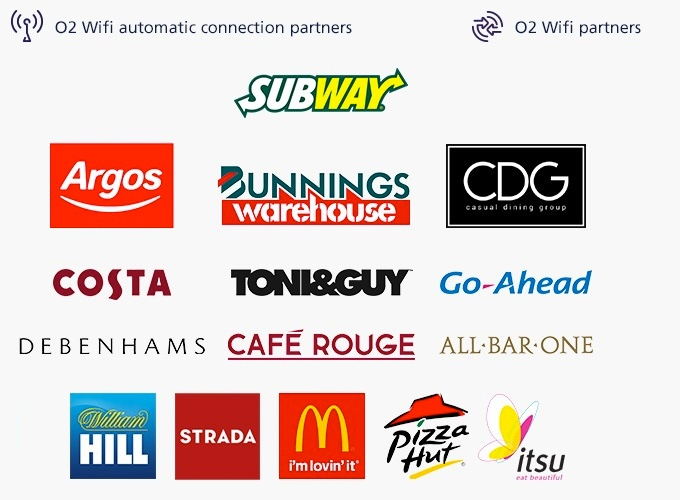 Image showing our WiFi partners, including: Subway, Argos, Bunnings Warehouse, CDG,Costa, Toni and Guy, Go Ahead, Debenhams, Cafe Rouge, All Bar One, William Hill, Strada, McDonalds, Pizza Hut and Itsu.