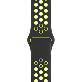 BeHello Silicone Sport Strap for Apple Watch 42mm and 44mm Black and Yellow