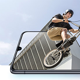 Man on bike jumping out of a phone screen