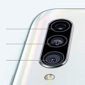 Back of white device showing close up of 3 cameras