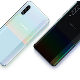 Back of white Samsung Galaxy A90 5G and black Samsung Galaxy A90 5G side by side