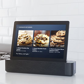 Using the Lenovo Tab M10 with alexa to find out the next step of the recipe