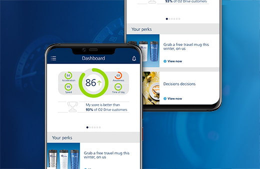 Screenshots of the O2 Drive app in use