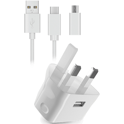 Type-C Data Cable Compatible For Android Phones Mains Charger 2 USB Wall Plug