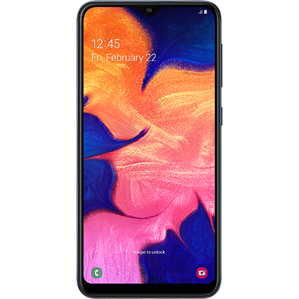 Samsung Galaxy A10 in black, front of device