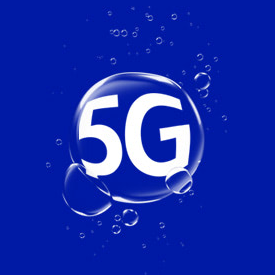 5G in a bubble on a blue background