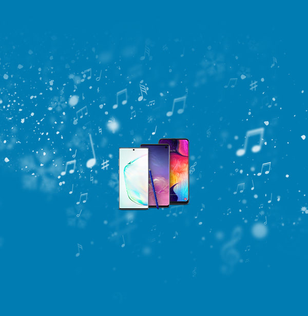 Samsung Galaxy S10 Plus, Samsung Galaxy A50, Samsung Galaxy Note10 Plus 5G on a snowy background